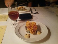 Mushroom, Truffle and Goats Cheese Risotto with a red ale reduction. Served with Bacchus Flanders Red Ale
