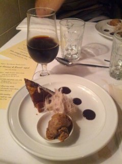 Warm Bread and Butter Pudding with Hazelnut Praline and Malt Ice Cream. Served with Bacchus Tamira Porter.