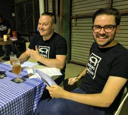 Two dashing fill-ins in great attire (Photo courtesy of Ballistic Brewing)